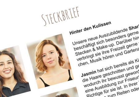 Steckbriefe Jubiläen und neue Auszubildende bei Haarmonie Friseure